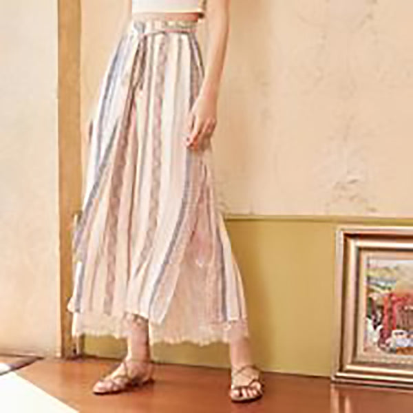 Women's Pants Loose Lace Stitching Printed High-waist Drawstring Side Split Chiffon Wide Leg for Autumn