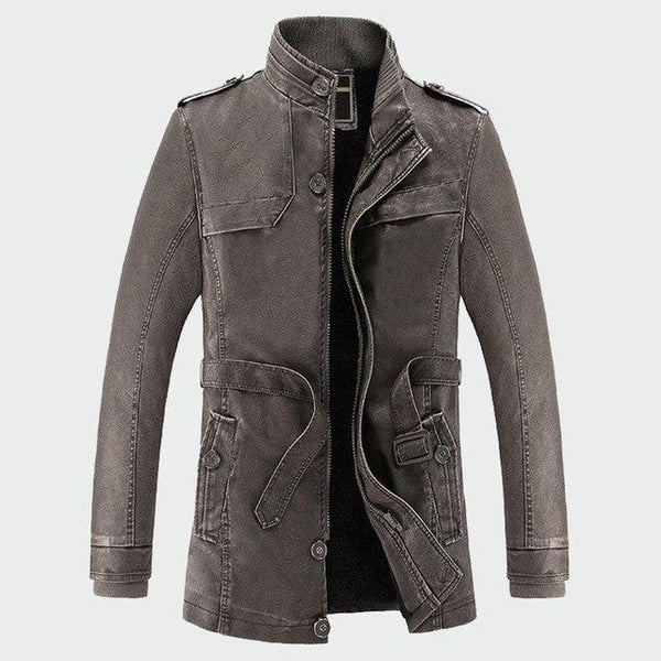 Men's Leather Jacket Warm Faux Fleece Thick Windproof Velvet Outwear for Winter Motorcycle Biker