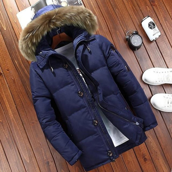 Men's Jacket Thick Hooded Casual White Duck Down Fur Collar Warm Zipper Outwear for Winter