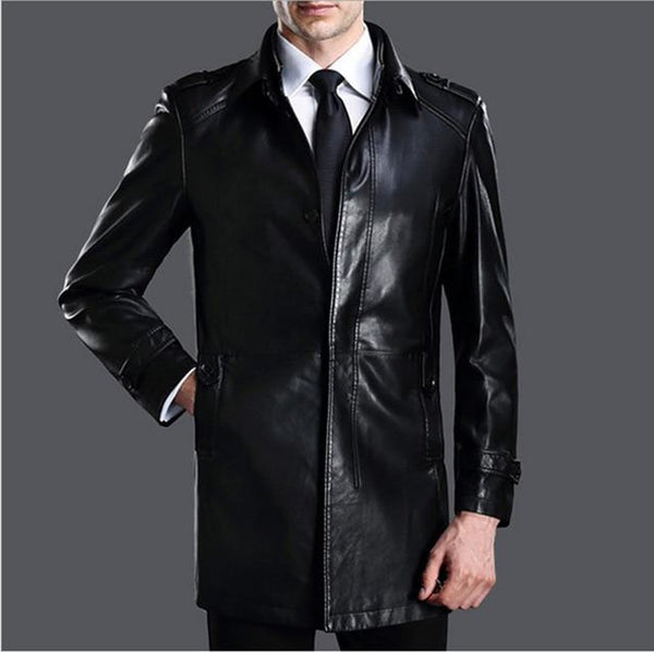 Men's Long Coat Conventional Lambskin Leather Double Attached Collar for Autumn Winter