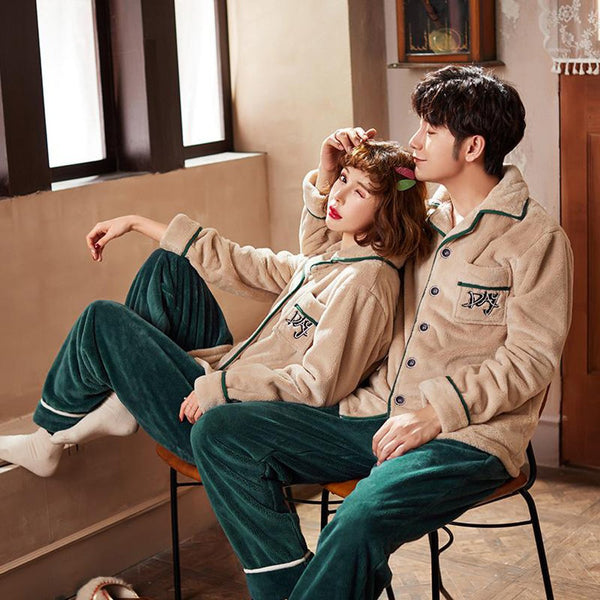 Men/Women Couple Matching Pajamas Shein Embroidered Warm Lingerie for Winter