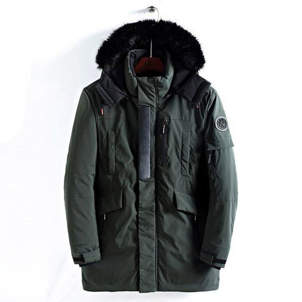 Men's Jacket Hooded Long Fur Padded Thick Army plus Size for Winter