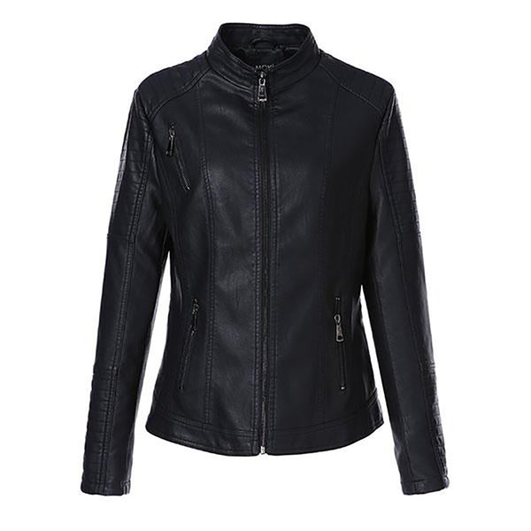 Women's PU Leather Jacket Washed Plus Size Short Full Sleeve Mandarin Collar Zipper Regular Basic