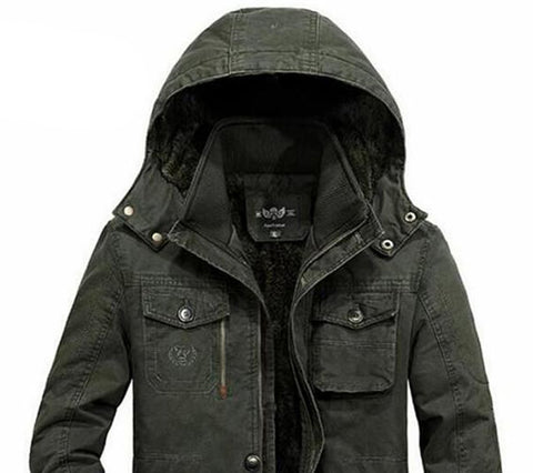 Men's Coat Militar Hooded Oversize Collar Cotton Warm Motor Biker