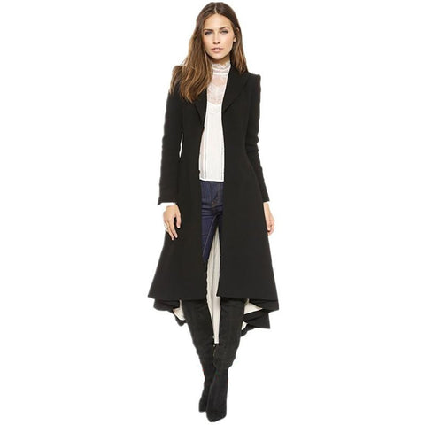 Women's Dress Coat Swallowtail Wool Long Trench Slim Plus Size Goth for Autumn Winter