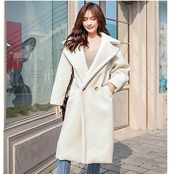 Women's Teddy Coat Faux Fur Fluffly Street Style Long Pocket Thick Warm