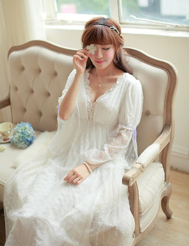 Women's Lace Dress Sleepwear Elegant Princess Vintage Bride Bridesmaid