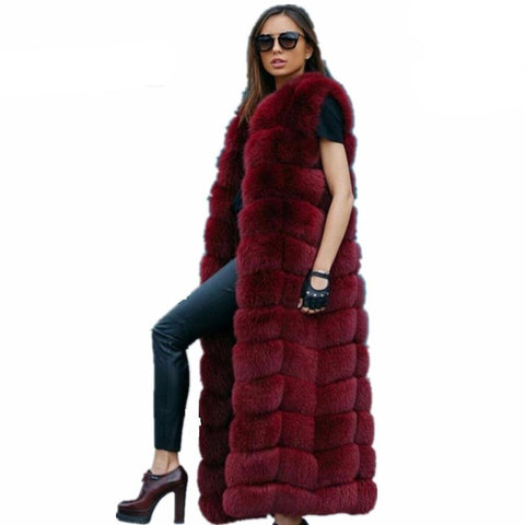 Women's Super Long Vest 120cm Faux Fox Furry Slim Plus Size for Winter
