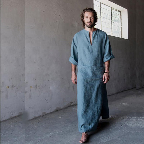 Men's Bathrobe Full Length Nature Cotton Linen Homewear