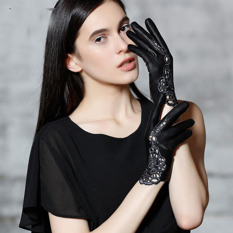 Women's Leather Gloves Touchscreen Driving Unlined for Winter Party