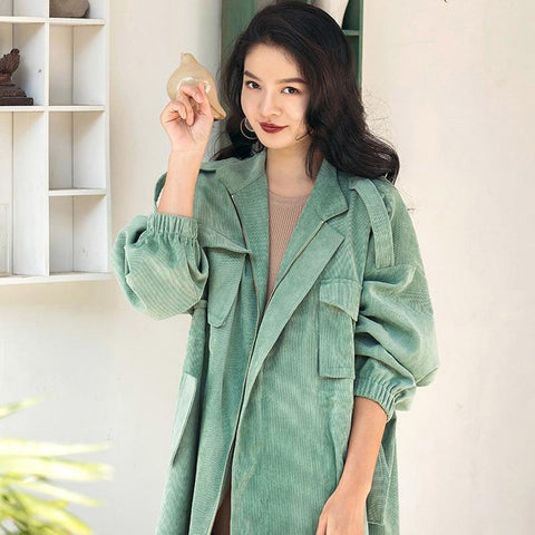 Women's Coat Casual Multicolor Long Trench Plus Size for Spring Autumn