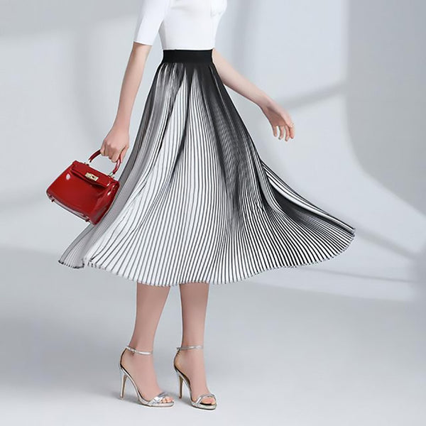 Women's Pleated Skirt Casual Chiffon Long Striped Elastic High Waist for Spring