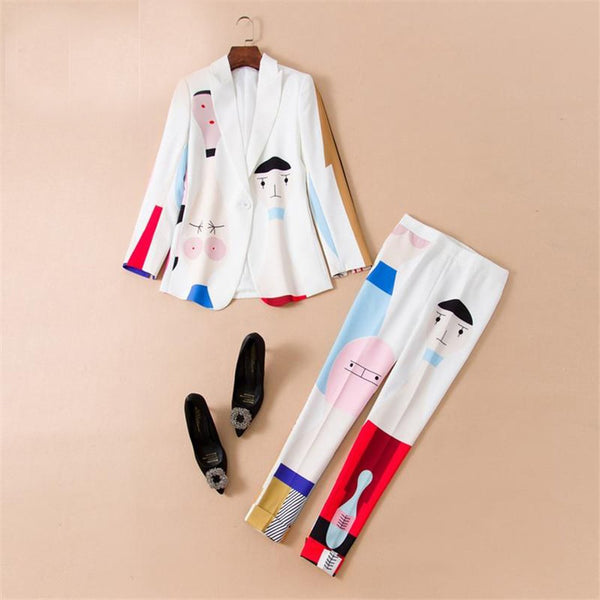 Women's Blazer and Pants Suit 2pcs/set Long Sleeve Colorful Cartoon Printed for Spring