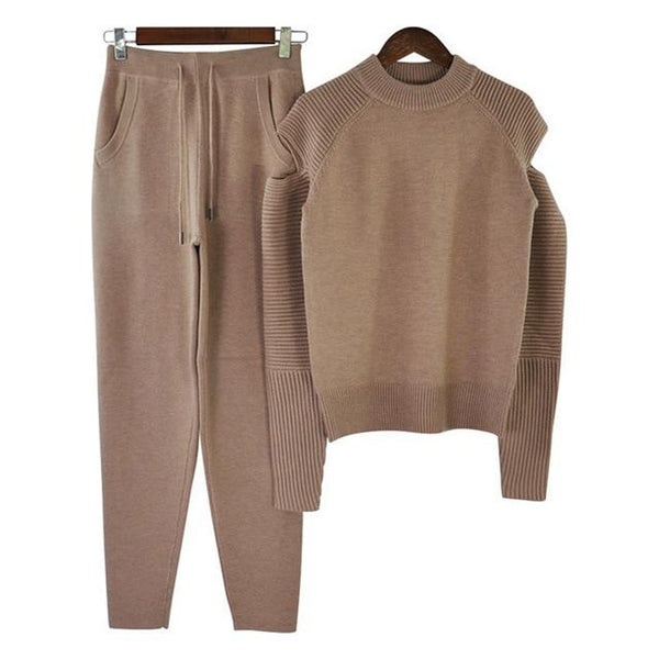 Women's Sweater and Pants Tracksuit 2pcs/set Knitting Woolen Long