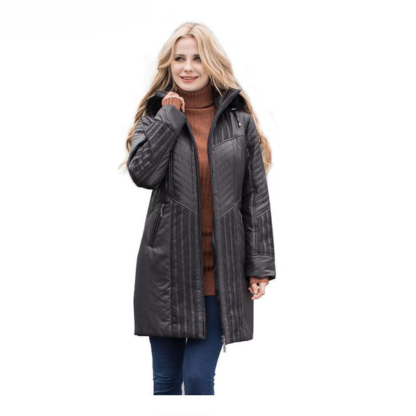 Women's Trench Coat Detachable Hood Fake Fur Plus size for Winter
