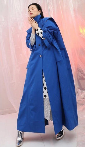 Women's Coat Stand Full Sleeve Ribbon Button Ruffles Split Joint Long for Autumn Winter