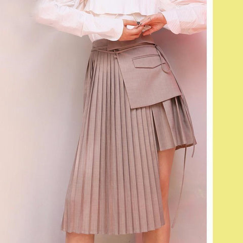 Women's Skirt Pleated Splicing Multiple Wearing Straps Asymmetrical Apron Half-body for Autumn Winter