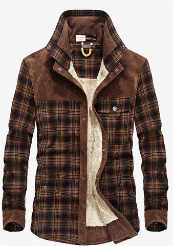 Men's Shirt Warm Plaid Casual Fleece Flannel Thick Cotton Pocket Long Sleeve for Winter