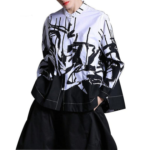 Women's Blouse Lapel Long Sleeve Printed One Pocket Loose Big Size for Autumn