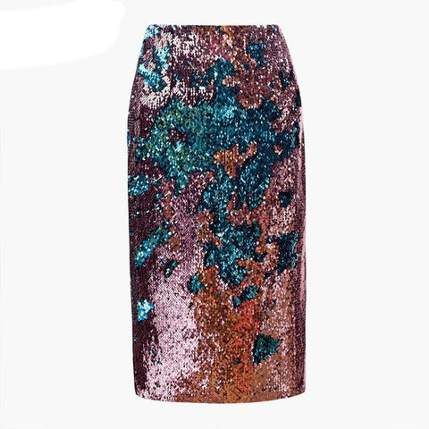Women's Skirt Hip Split Patchwork Double Color Sequins Spliced Mid Long Section for Autumn Winter