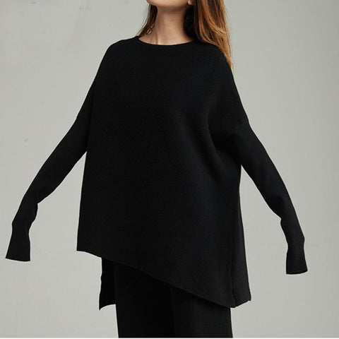 Women's Sweater Full Sleeve O-collar Loose Asymmetrical Casual for Autumn Winter