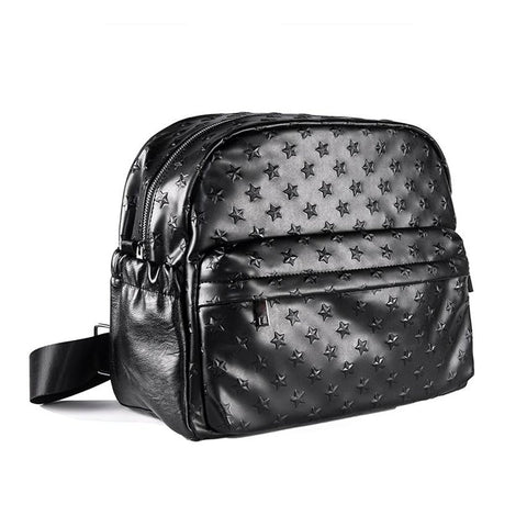 Maternity Diaper Bag PU Leather Large Capacity Nappy Changing Hanging On Stroller 3D Star Pattern