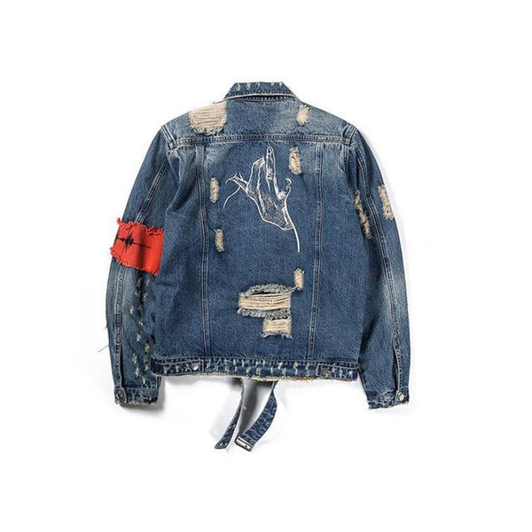 Men's Jean Jacket Classic Broken Zipper Old Denim