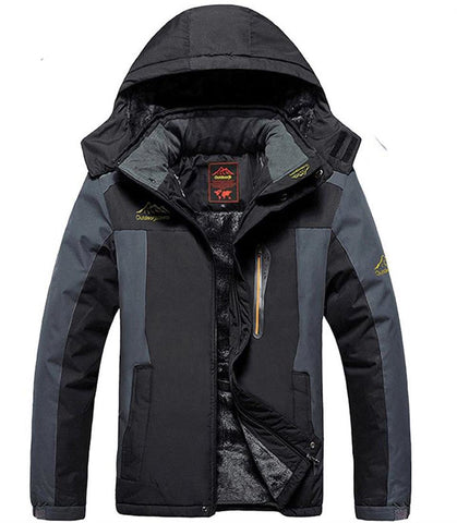 Men's Jacket Plus Size Waterproof Windproof Velvet Warm for Winter Mountain