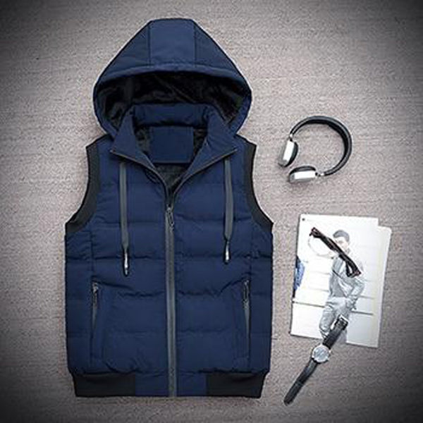 Men's Vest Hooded Sleeveless Casual for Winter