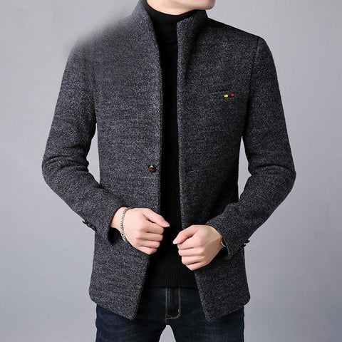 Men's Coat Thick Warm Wool Cloth with Pocket Slim Fit for Winter