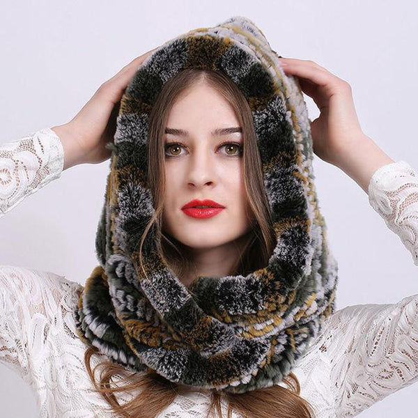 Women's Scarf Cap Rex Rabbit Fur Knitted Super Warm for Winter