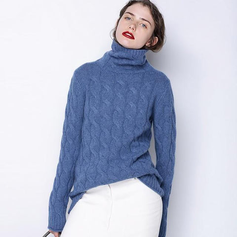 Women's Sweater Cashmere Wool Thick Turtleneck Striped for Winter