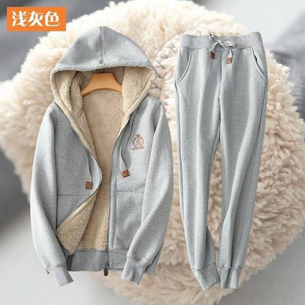 Women's Two Piece Set Tracksuit Thicken Warm Plus Size Casual for Winter Autumn