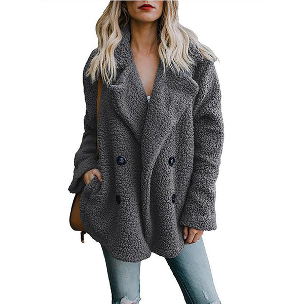 Women's Jacket Oversized Pockets Plus Size Warm Hairly Outwear for Autumn Winter