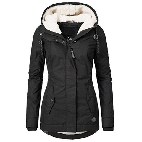 Women's Casual Hooded Jacket Cotton Simple High Street Slim Warm Thicken Basic for Winter