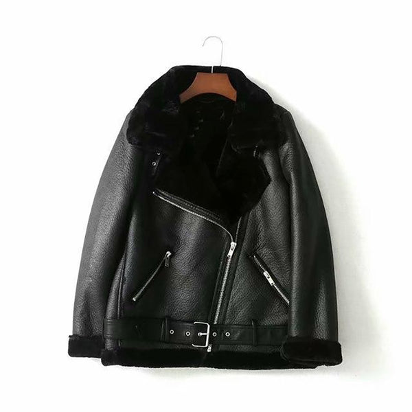 Women's PU Leather Coat Turn-down Collar Zipper Warm Casual Imitation Fur for Autumn Winter