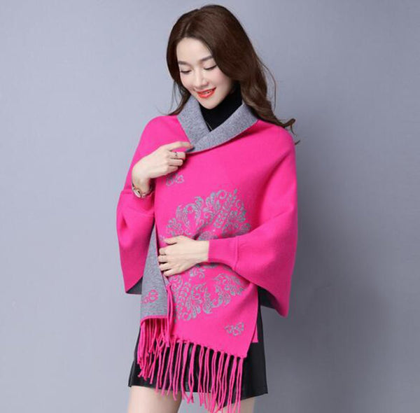 Women's Pashmina with Sleeves Flower Print Double Use Cashmere for Winter