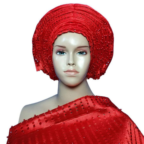 African Auto Gele with Shoulder Already Tied for Bridal Party