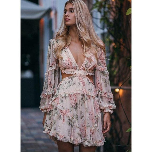 Women's Dress Print Lantern Sleeve Deep V-neck Cross Spaghetti Short Bodycon for Summer Beach
