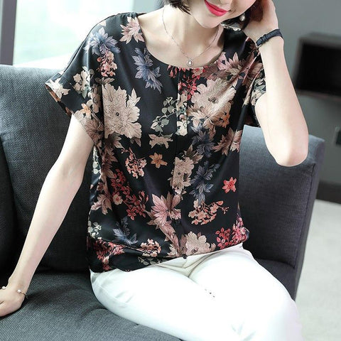Women's T-shirt Sleeved Antique Printed Mulberry Slik Loose Korean Round Neck Stitching