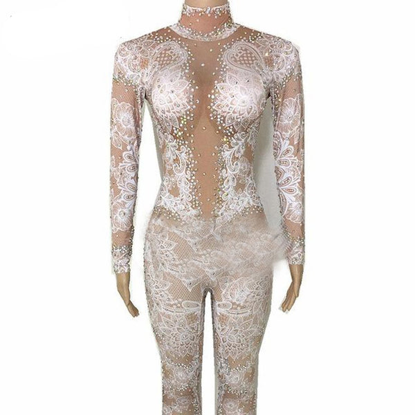 Women's Jumpsuit Glisten Crystals Flowers Pattern Outfit Stretch for Singer Nightclub Dance Party