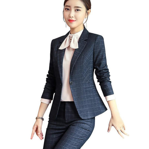 Women's Blazer and Pants Suit 2pcs/set Plaid Long Sleeves Plus Size for Business Interview Office Work