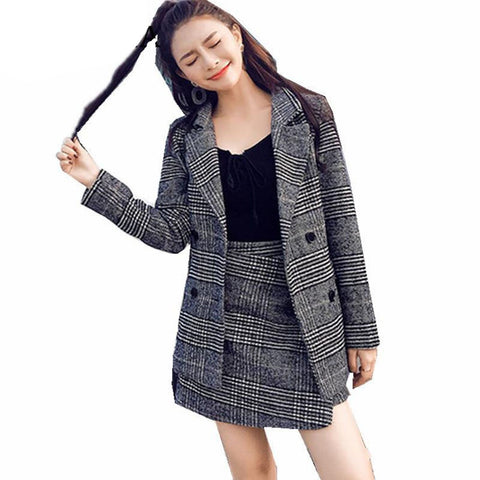 Women's Jacket and Skirt Suit 2pcs/set Plaid Tweed for Winter Business