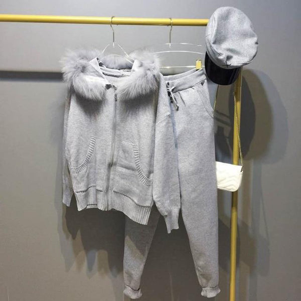 Women's Jacket and Pants Set Knitted Real Fur Hooded Sweat for Winter