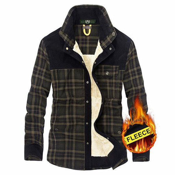 Men's Fleece Shirt Thicken Warm Plaid Plus Size Long Sleeve Casual 100% Cotton for Winter