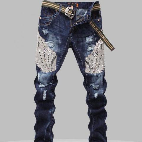 Men's Jeans Sequin Eagle Wings Embroidery Stitching Hole Slim Ribbed Robin