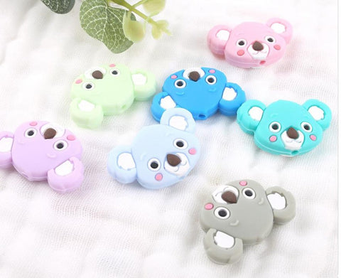Baby's Silicone Beads 100pcs/lot Mini Koala Shape DIY Jewerly Nursing Accesories