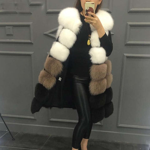 Women's Coat Faux Fur Long Thick Sleeveless for Autumn Winter