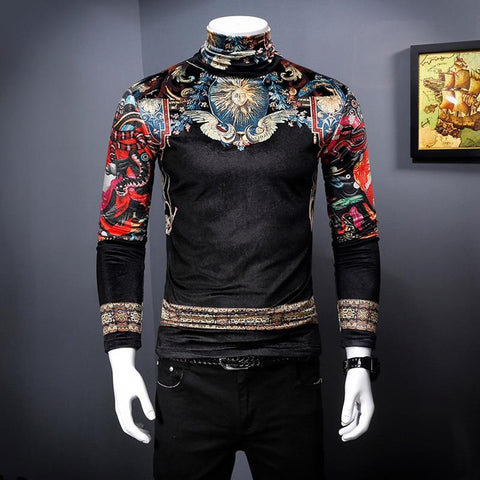 Men's T-shirt Vintage Royal Print Velvet Thicken Slim Fit Plus Size for Autumn Winter