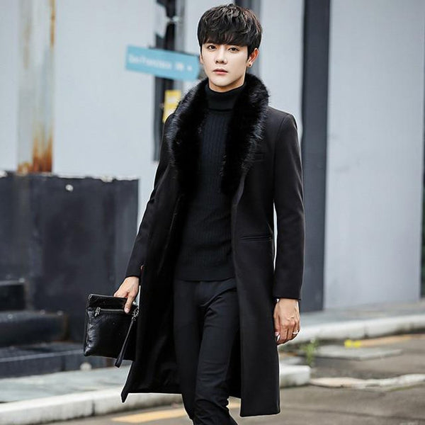Men's Coat Woolen Fur Collar Warm Slim Trench Outwear for Winter